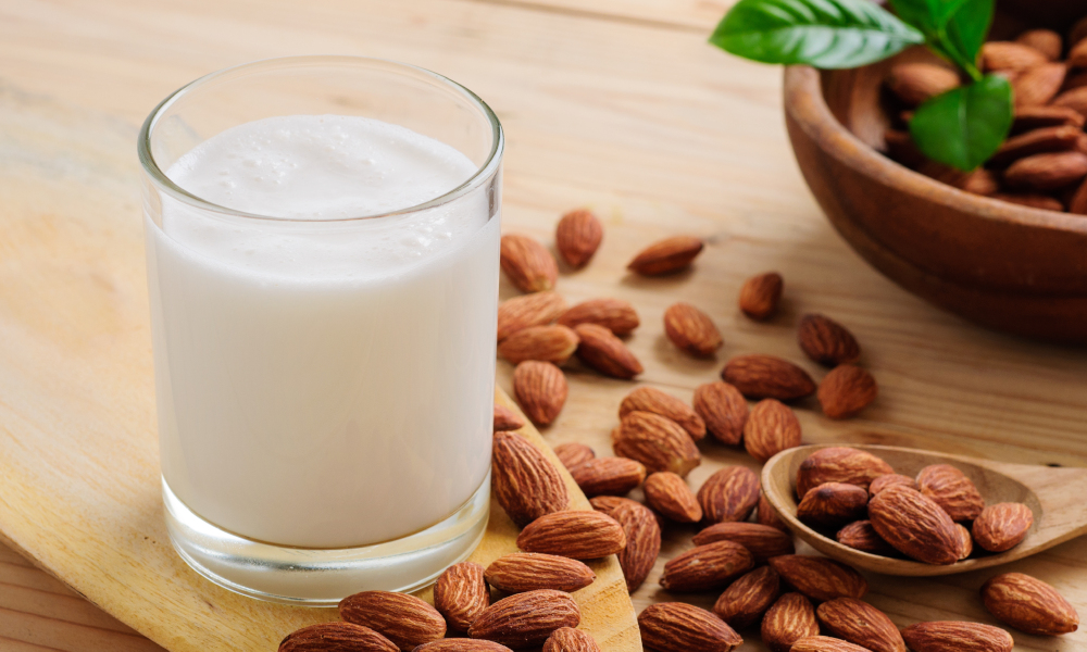 almond milk stock image