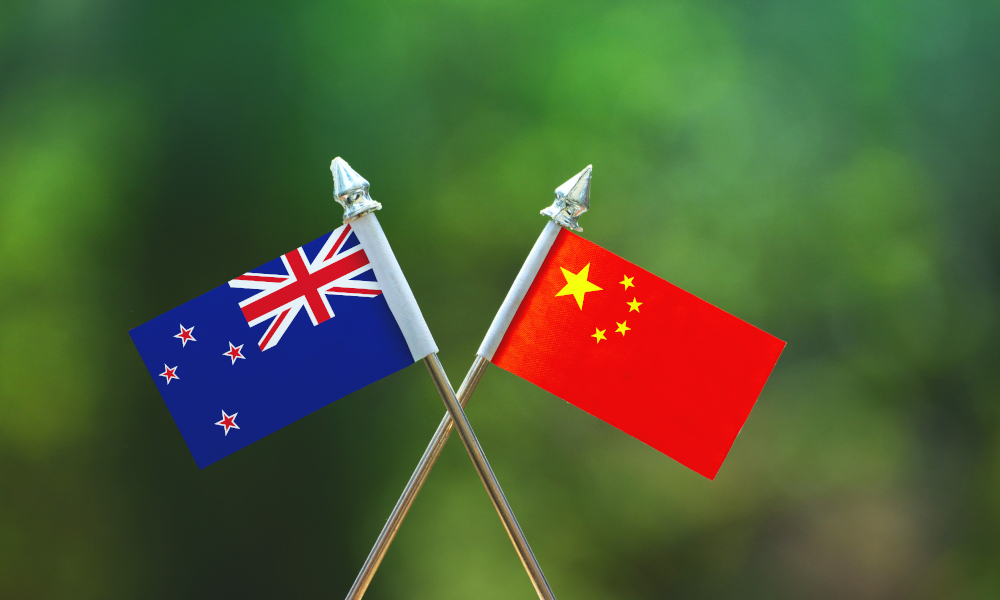 nz-china flags stock image