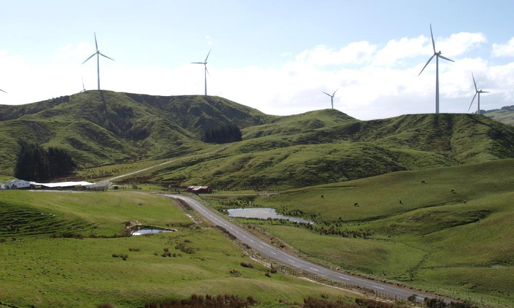 nz wind farm stock image