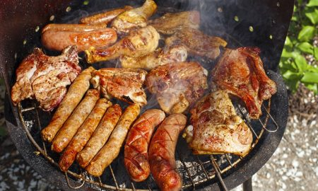 meat on grill stock image