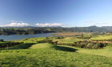 new-zealand-farm-land stock image