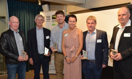 Winners at the Federated Farmers Arable Industry Group 2019 Awards, from left, Peter Kelly, Jim Macartney, Earl Worsfold, Group chairperson Karen Williams, Colin Hurst and Richard Kershaw.